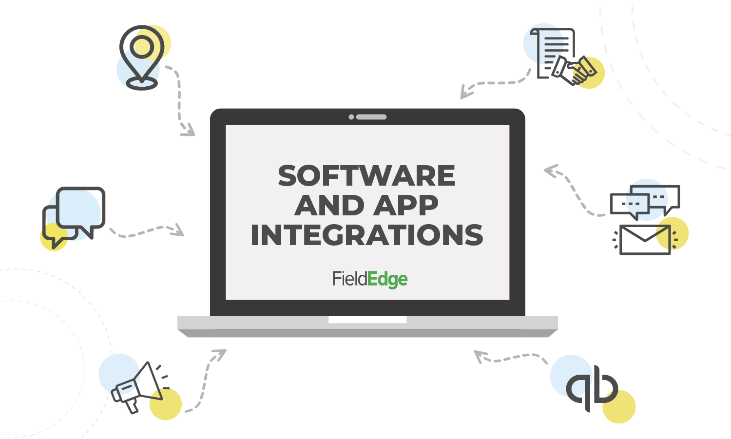 Graphic of software integration icons pointing to a laptop