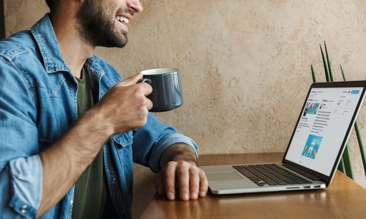 HVAC business owner learning new marketing tips while sipping coffee