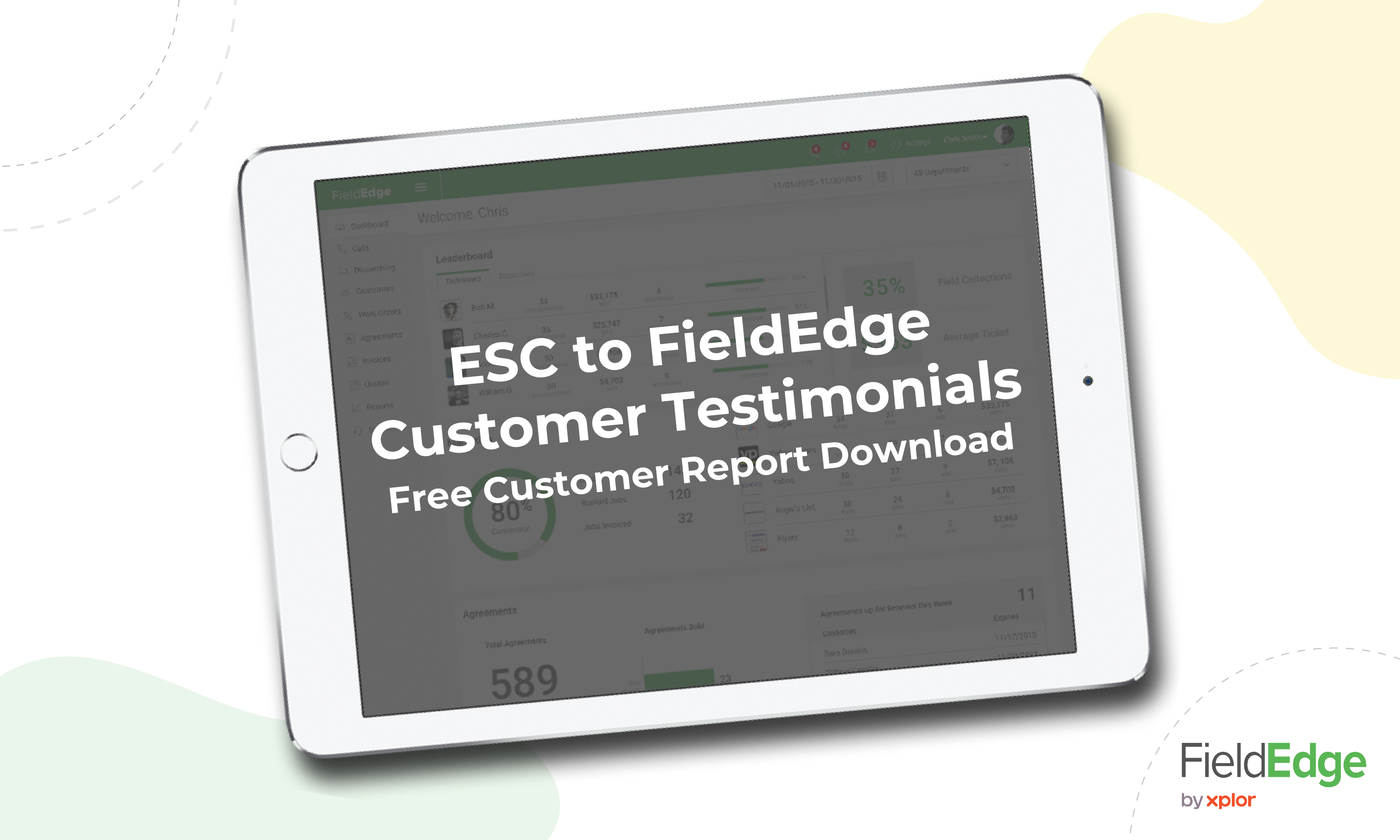 """Graphic of FieldEdge on a tablet with the title """"ESC to FieldEdge Customer Testimonials"""""""